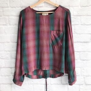Cloth & Stone Lace Up Plaid Top